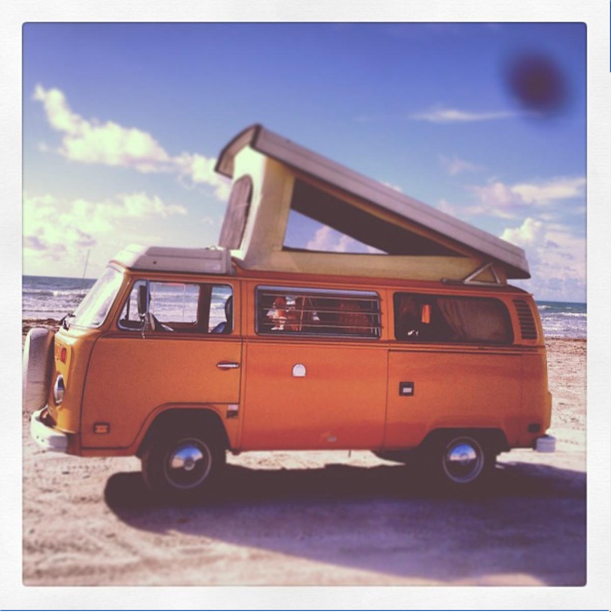 The gulf beach breeze is so relaxing!. Volkswagen Westfalia 1976