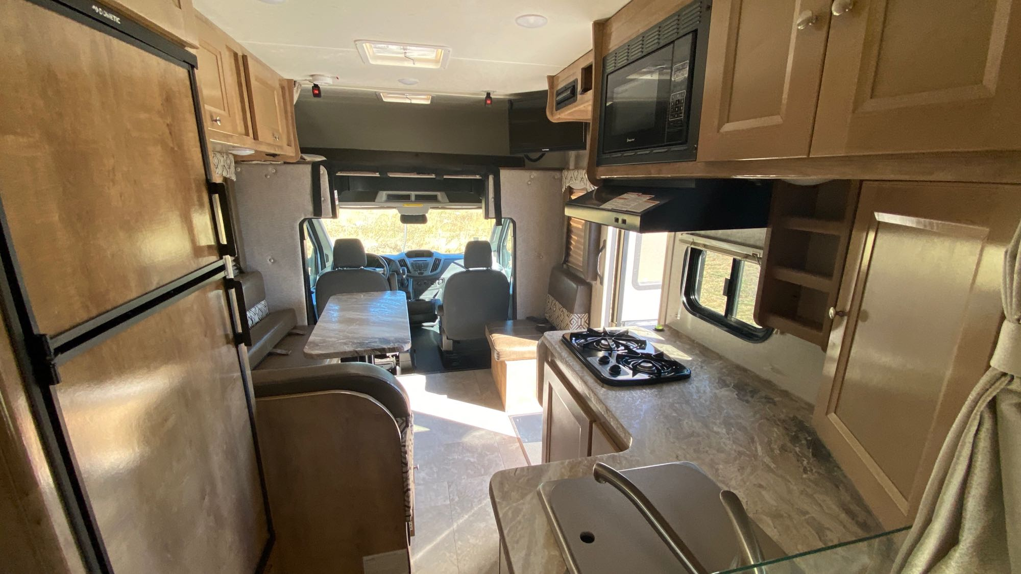 view from rear queen bed.. Coachmen Freelander CB20 (Leprechaun is the submodel) 2020