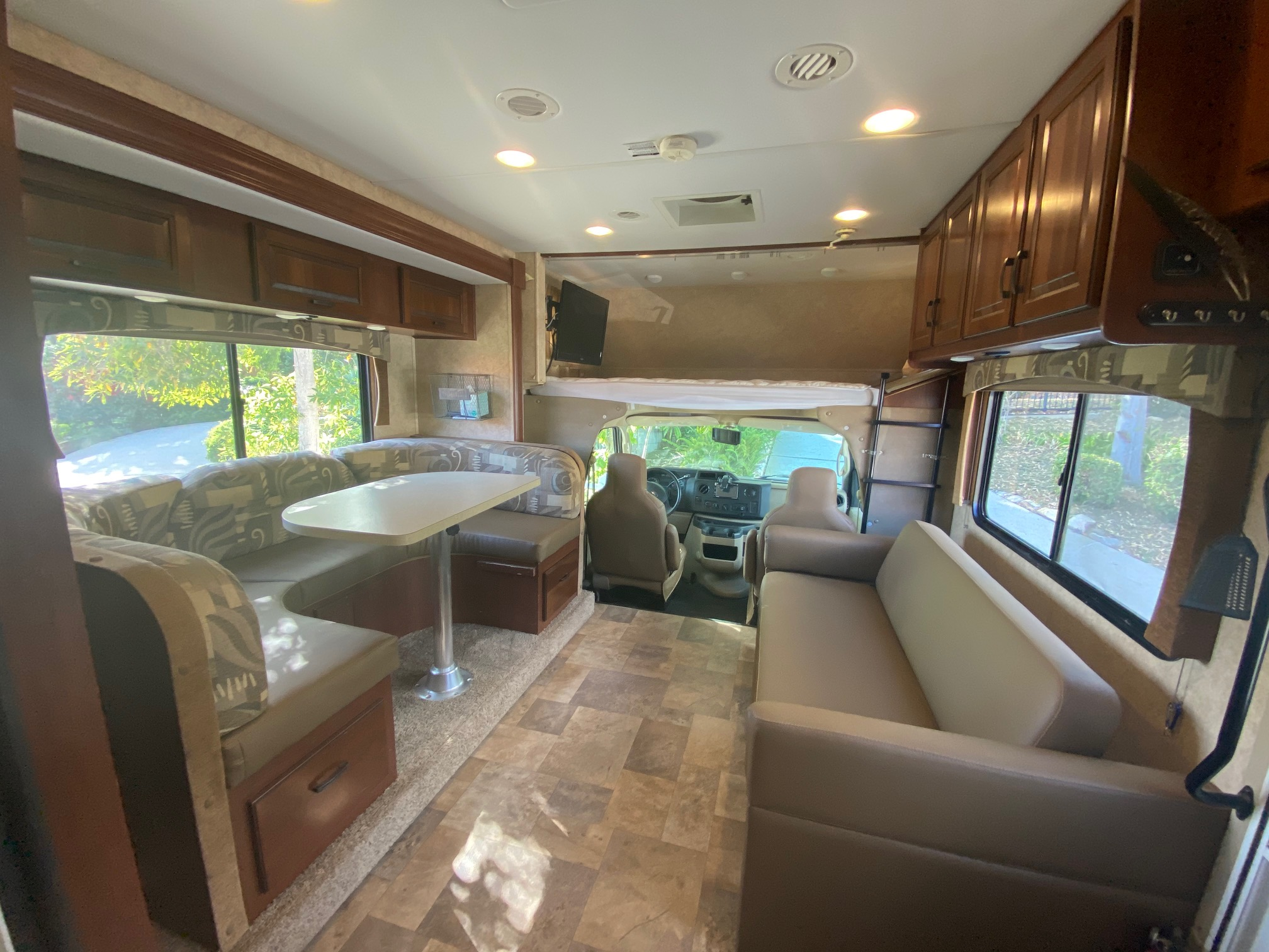 Couch and dinette with slide-out out. Forest River Forester 2691S 2013