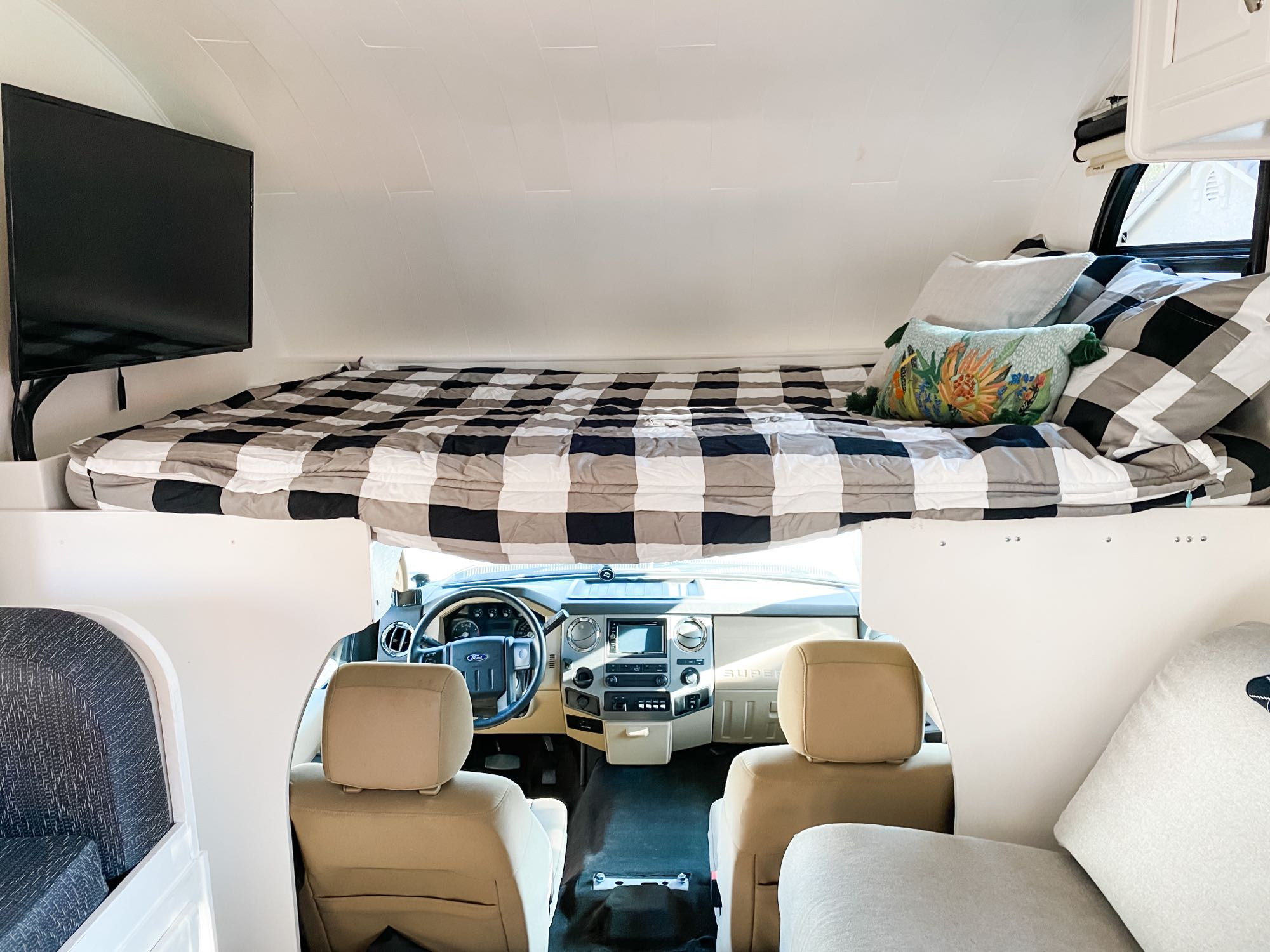 Queen size bed above the cab. Thor Motor Coach Four Winds 2016