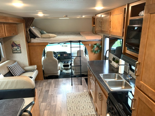 Spacious interior, walk through even with slide in. Winnebago Minnie Winnie 31K 2019
