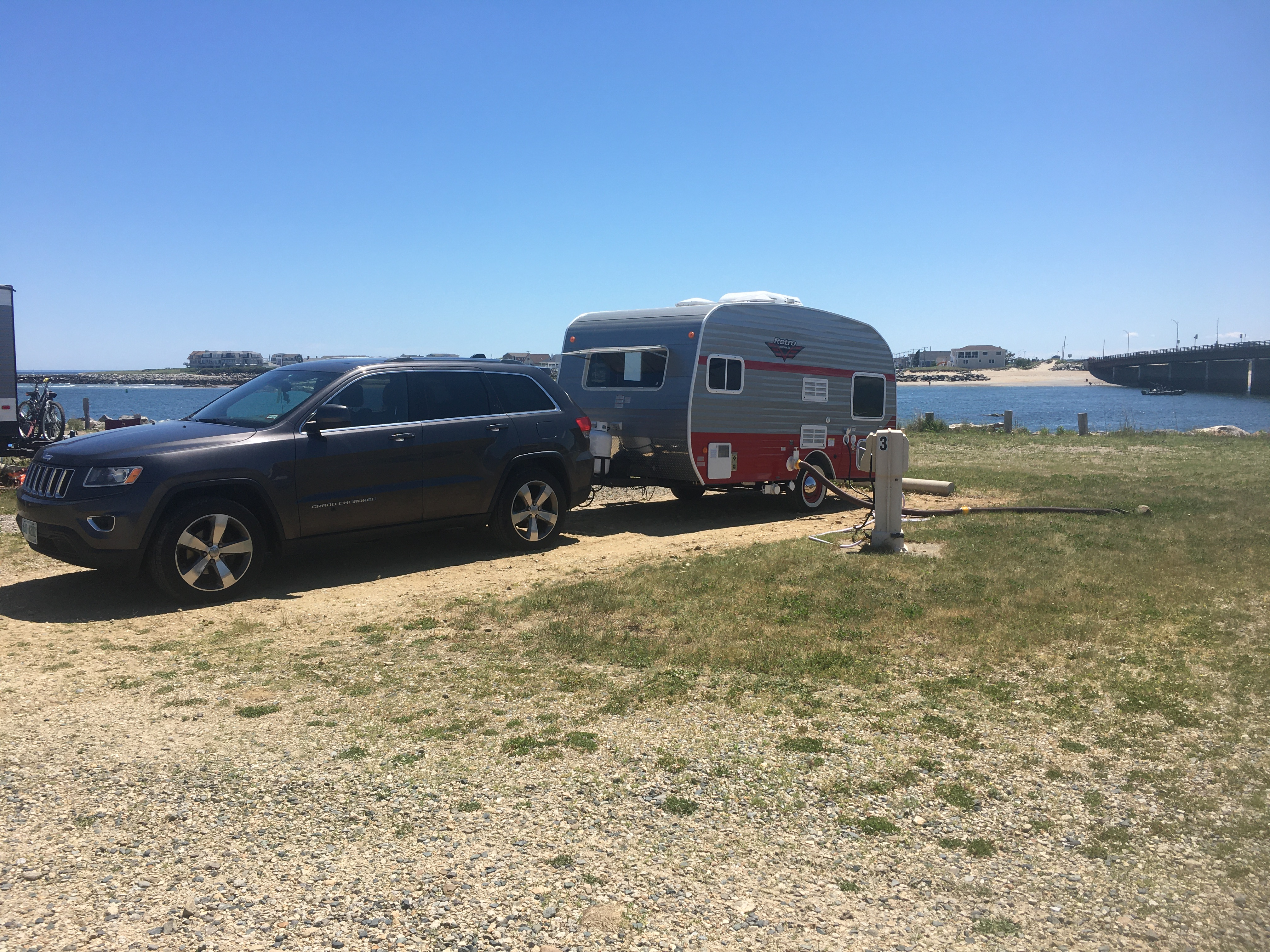 At Hampton Beach State Park, comfortably towed by a Jeep Grand Cherokee.. Riverside Rv Retro 2018