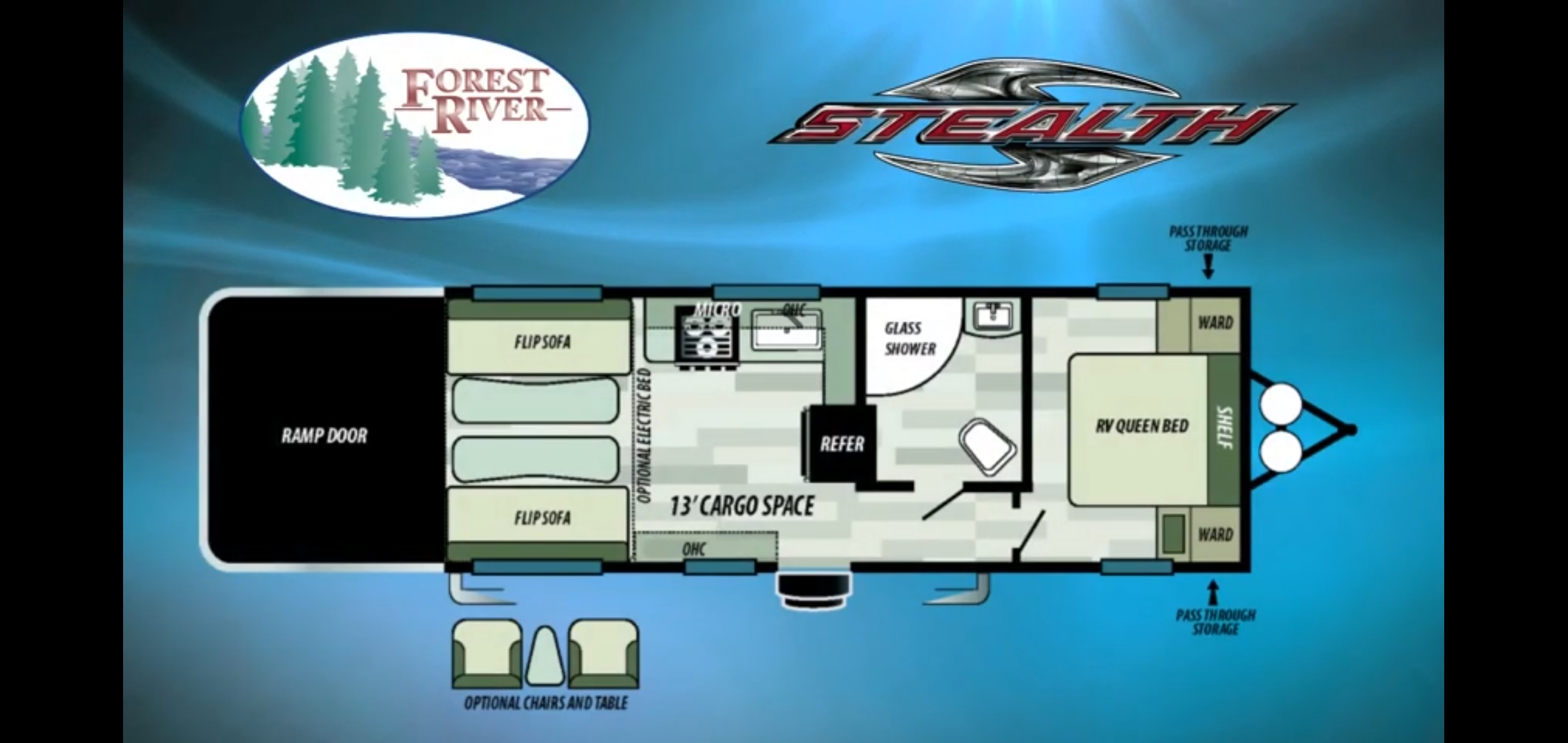 My trailer layout has the 2 captain's chair option.. Forest River Stealth 2018