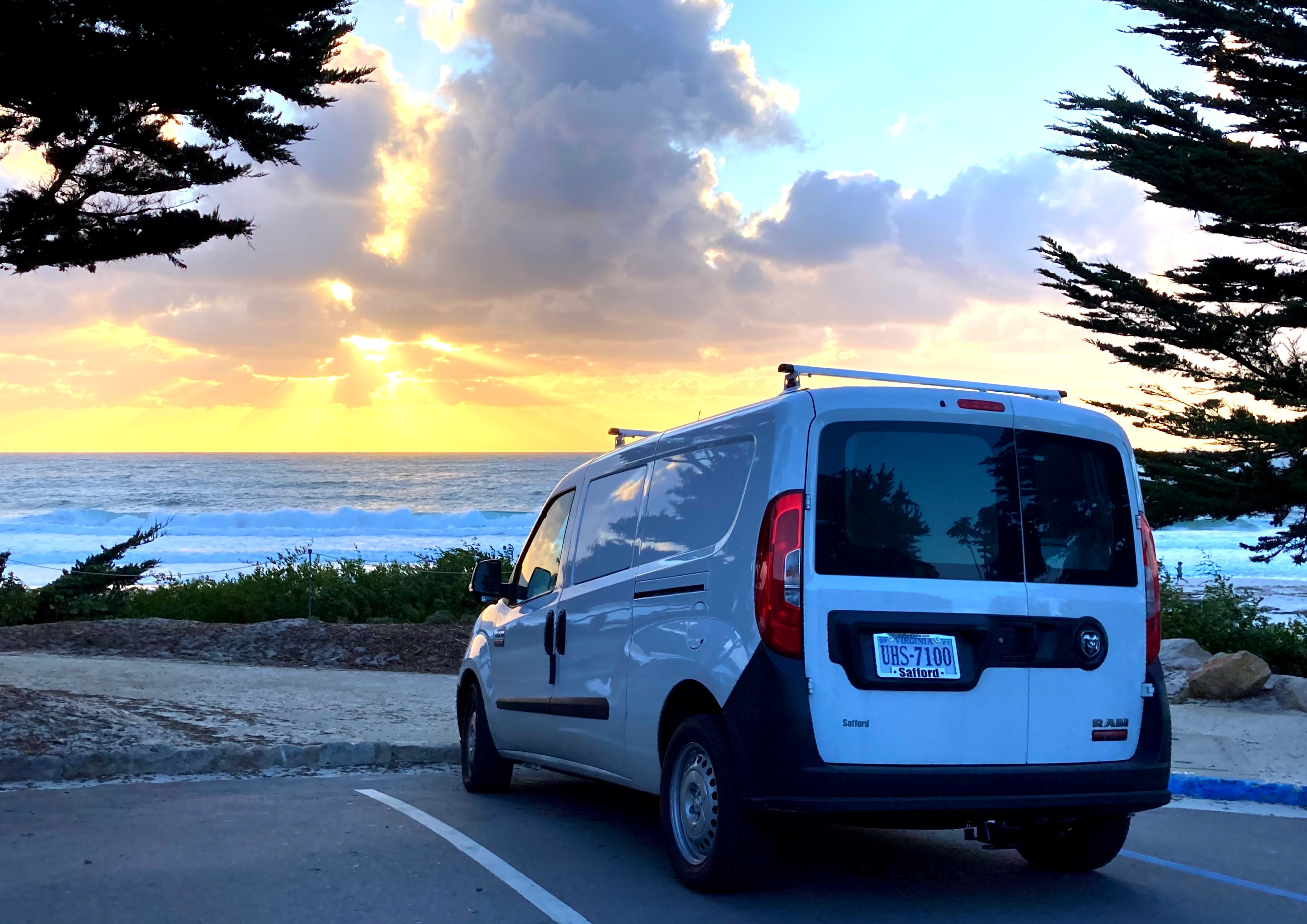 A Pacific Ocean sunset at Carmel-by-the-Sea....  Go anywhere and park in any spot, don't miss a thing. . RAM ProMaster City 2020