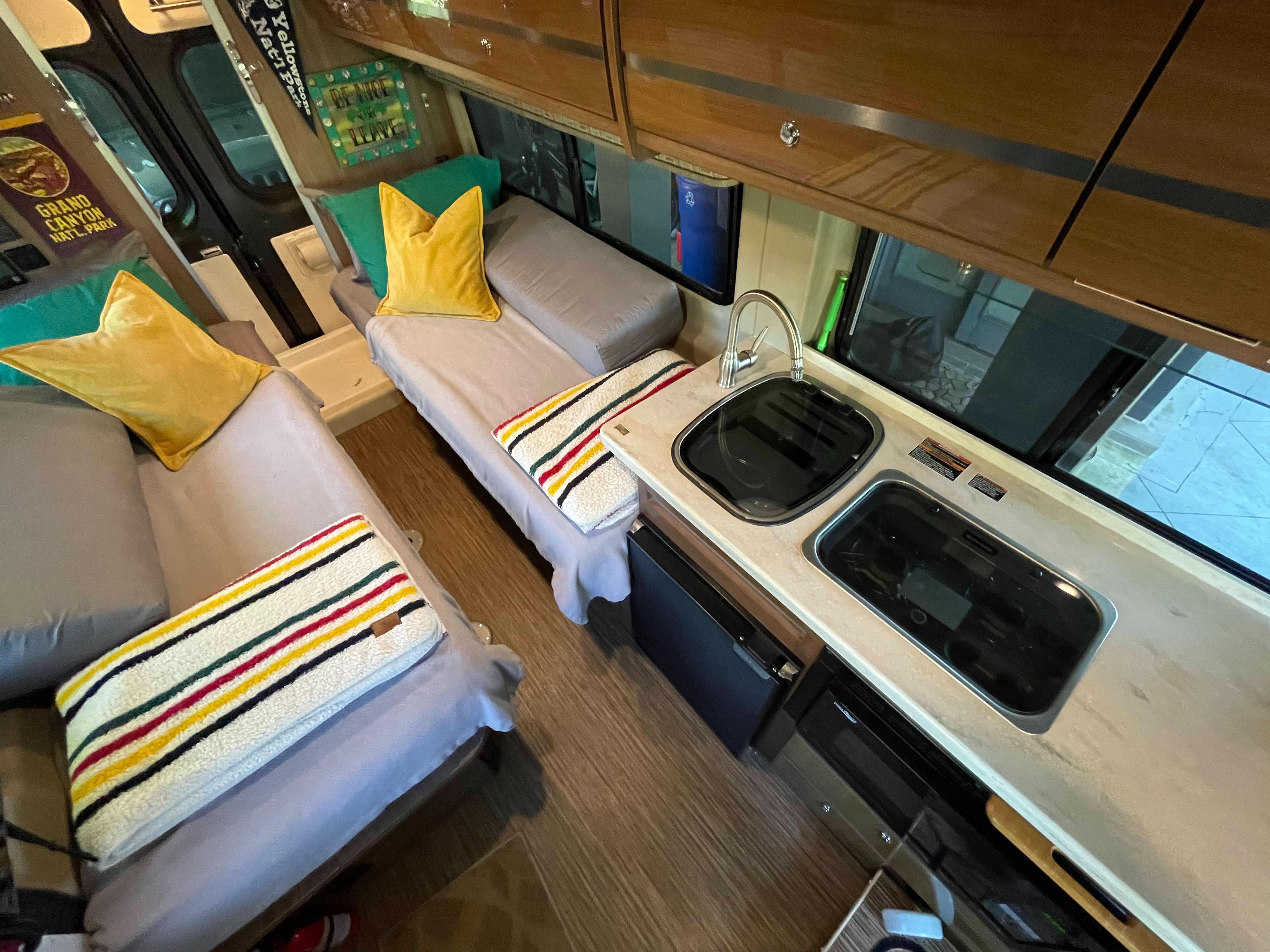Everything you need in an efficient floor plan. Winnebago Travato 2017