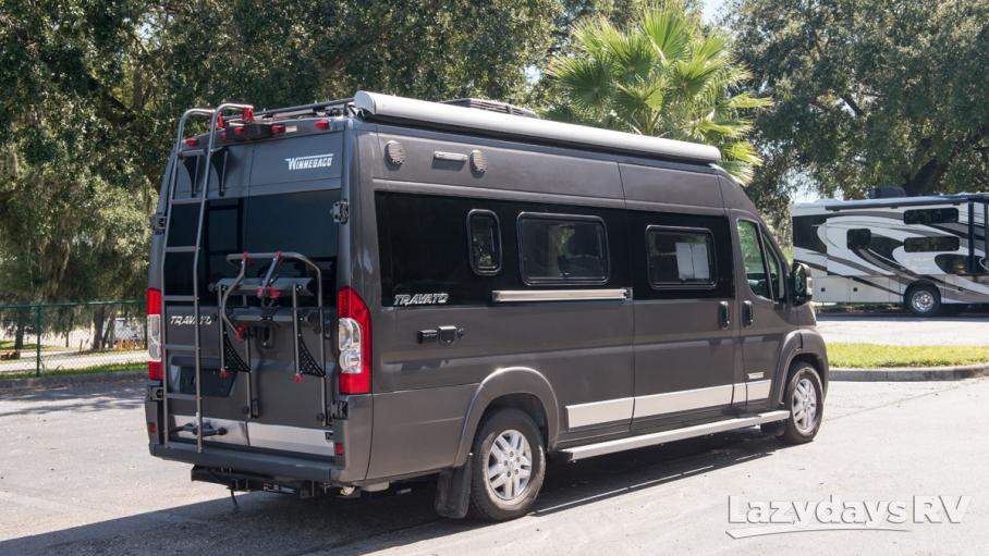 Traveler has a bike rack, a retractable awning and at only 21 feet in length its simple to maneuver.  . Winnebago Travato 2019