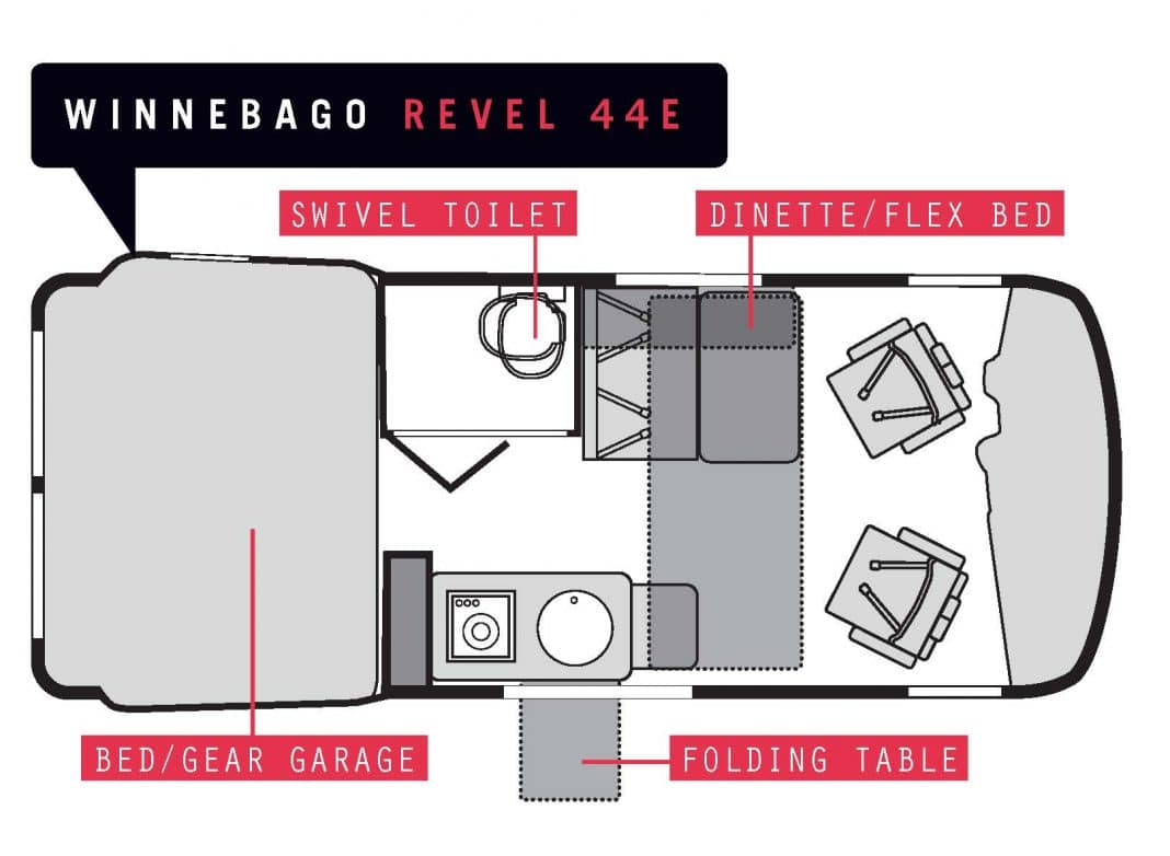 This shows the way the second sleeping accommodations open up to setup another bed.. Winnebago Revel 2018