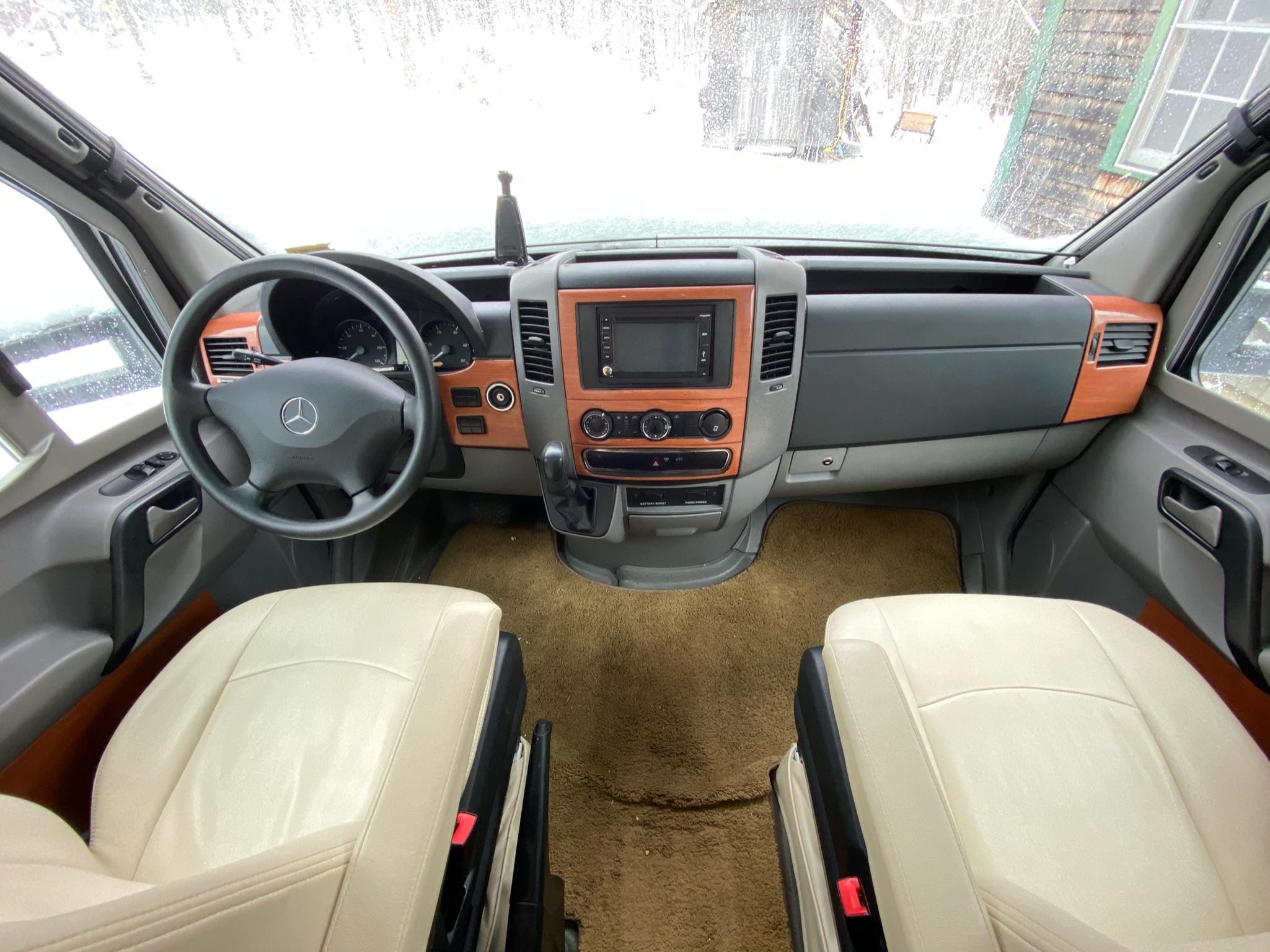 Uber comfy leather seats! Lots of leg room too :). Winnebago View 2014
