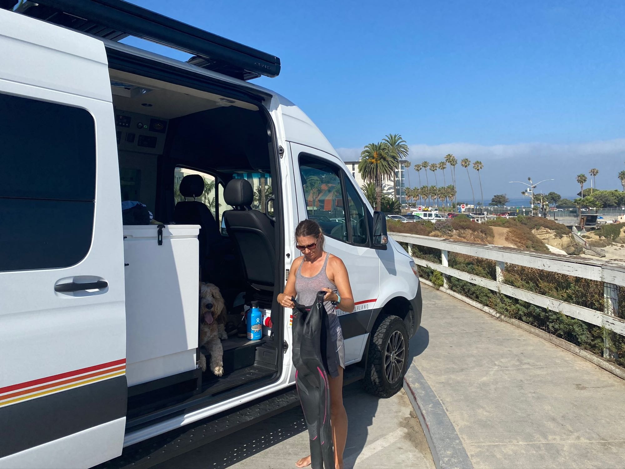 Getting ready for a swim at La Jolla Cove. Storyteller Overland Mode 4 X 4 2020