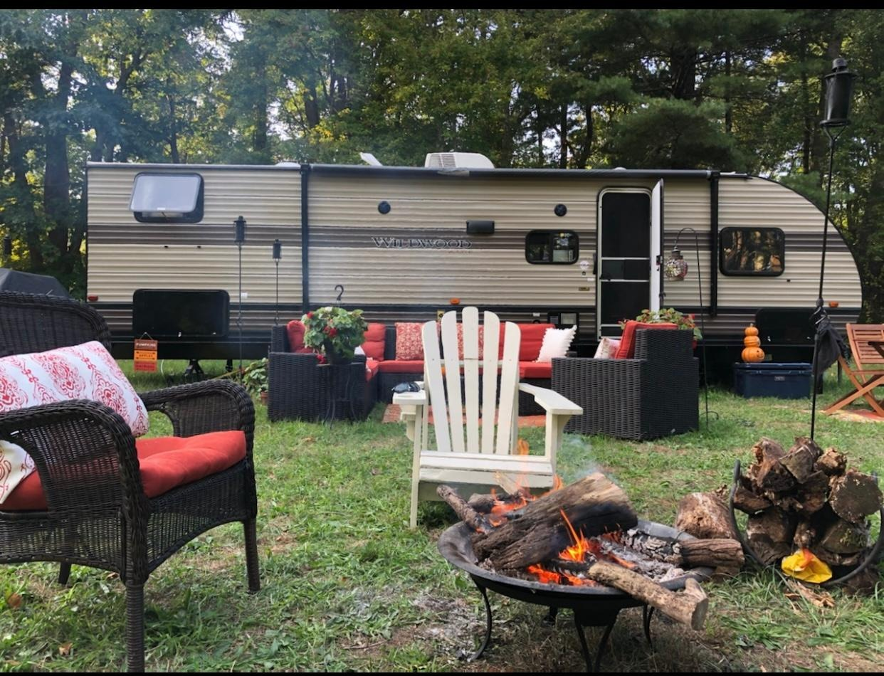 One of our longer renters of 2020 took this picture of our camper after she made it her own little outside paradise! . Forest River Wildwood xlite 2019