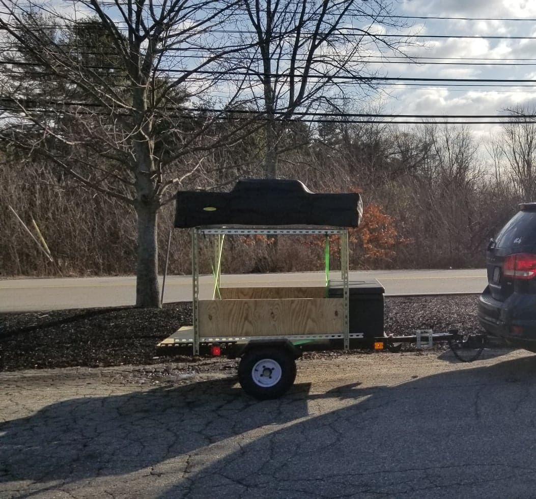 Full set-up behind a vehicle (closed). Utility Adventure Trailer 2020