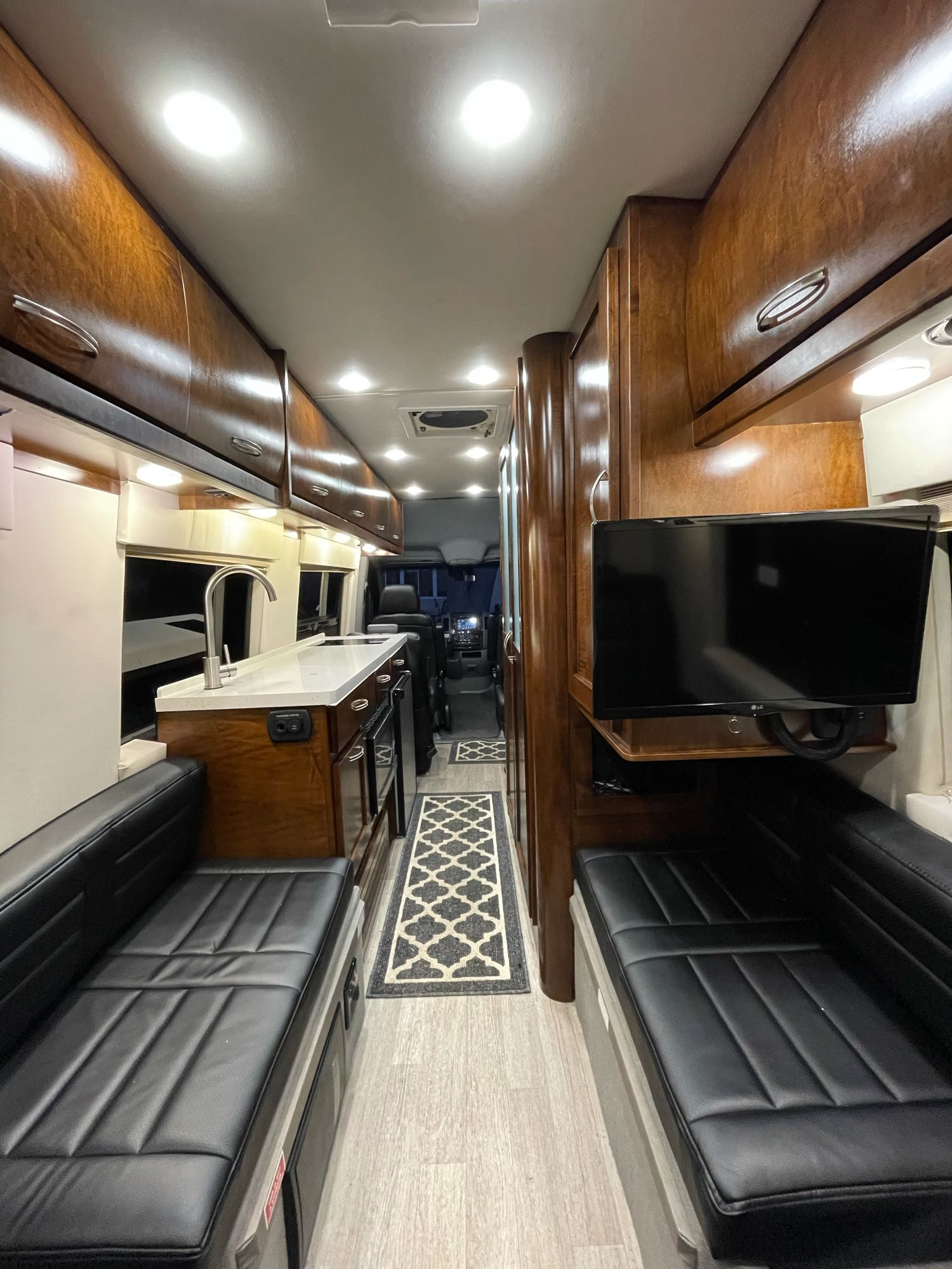 View from rear bench seat/bed looking towards the front.. Coachmen Galleria 24Q 2018