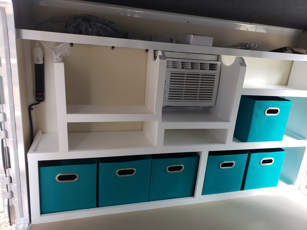 Custom Storage, Inside electrical outlets and cool A/C. Runaway Campers Rangerunner 2021