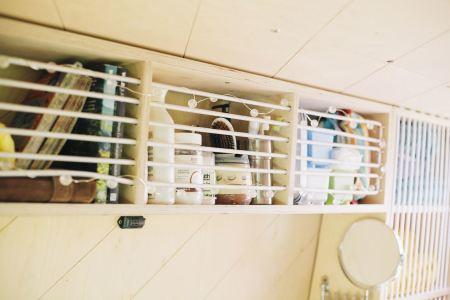 Kitchen storage and 'bathroom' mirror!