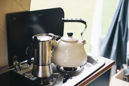 Stove with included kettle and coffee mocha