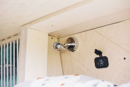 The top and middle bunks have reading lights and USB charging points
