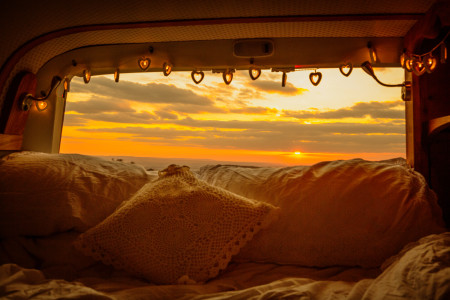 Watch the sunset from Romas double bed