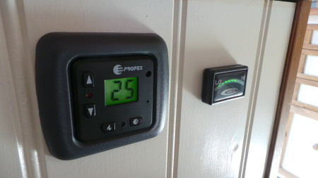 Thermostat for the gas heater on colder nights