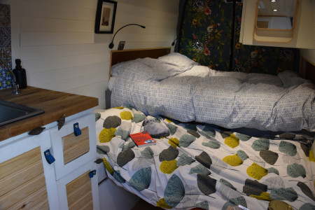 An extra comfy bed is made with an addition to the benches and a extra tailored made cushion.