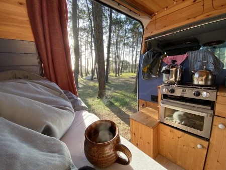 morning cuppa in the pine forest - the full size double bed is so comfy it almost feels like you are cheating!