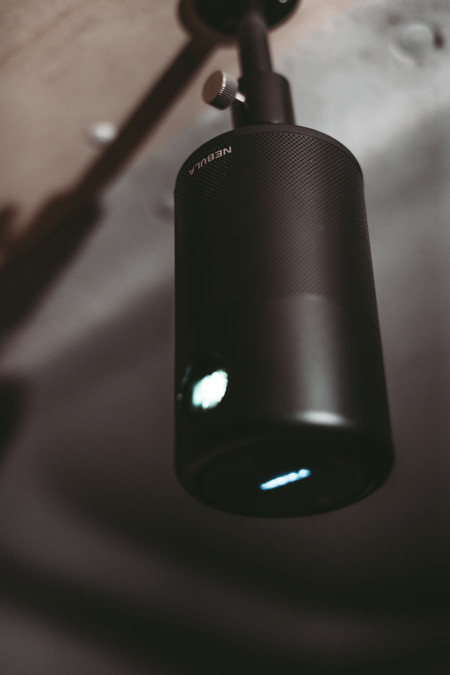 The Nebula projector for cosy movie nights in the Van