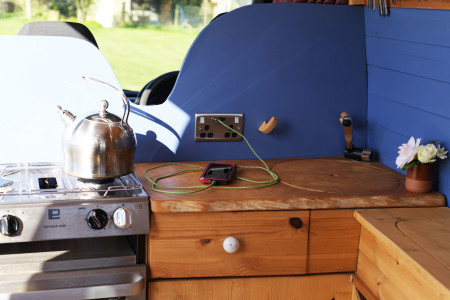 If you are on a campsite you can hook up with our electric hook up cable, and get those items charged!
