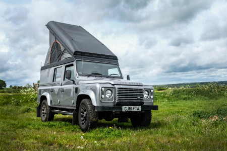 Easy-up Alucab pop top roof provides sleeping under the stars