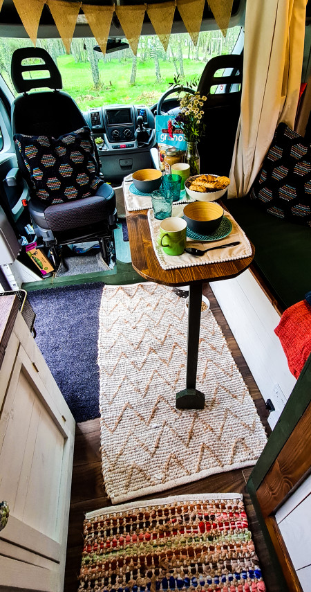 Interior floorplan view of table, bench and cab