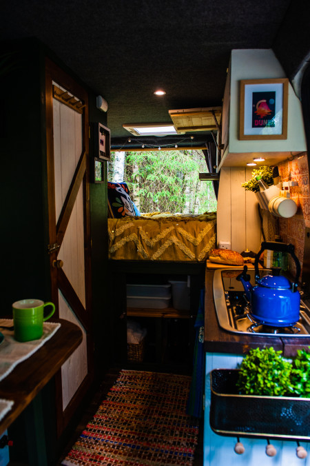 Kitchen and bed with storage