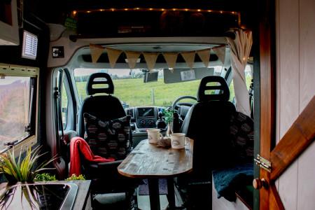 Interior of front of the van