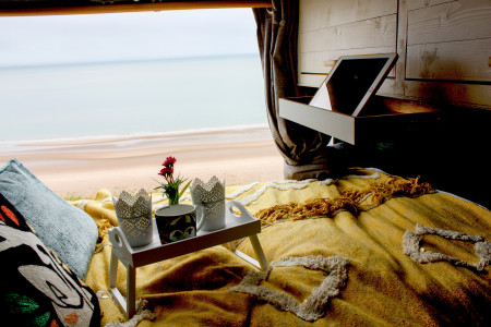 Bed with view of St Cyrus beach