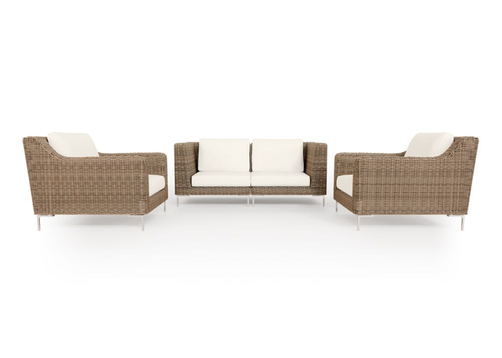 Wicker Outdoor Loveseat with Armchairs - 4 Seat