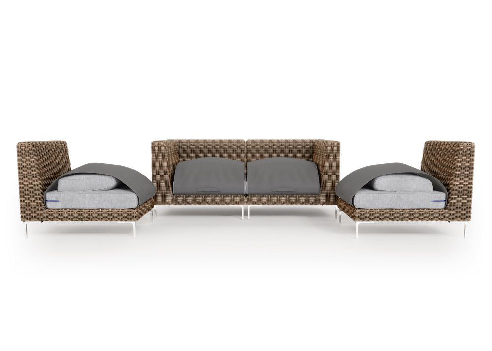 Wicker Outdoor Loveseat with Armless Chairs - 4 Seat
