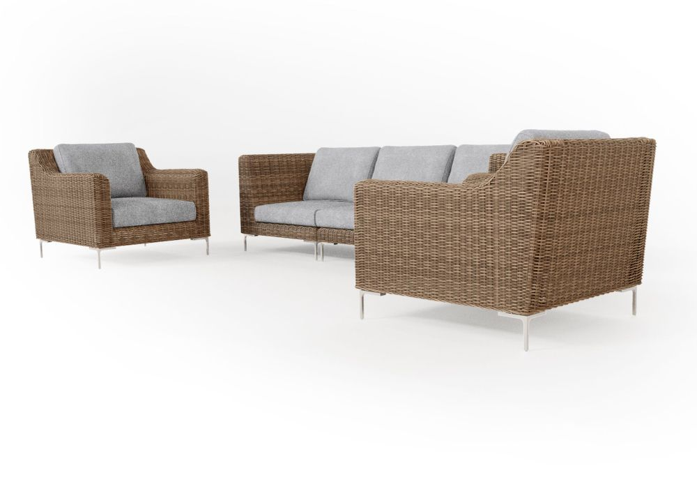 Wicker Outdoor Sofa with Armchairs - 5 Seat