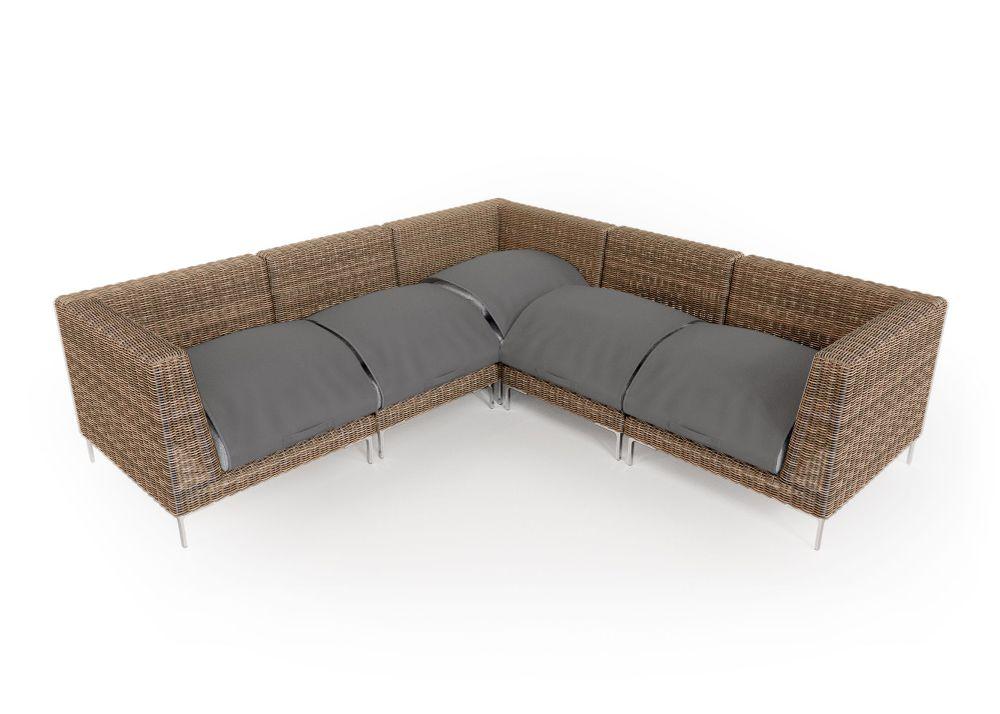 Wicker Outdoor Corner Sectional - 5 Seat
