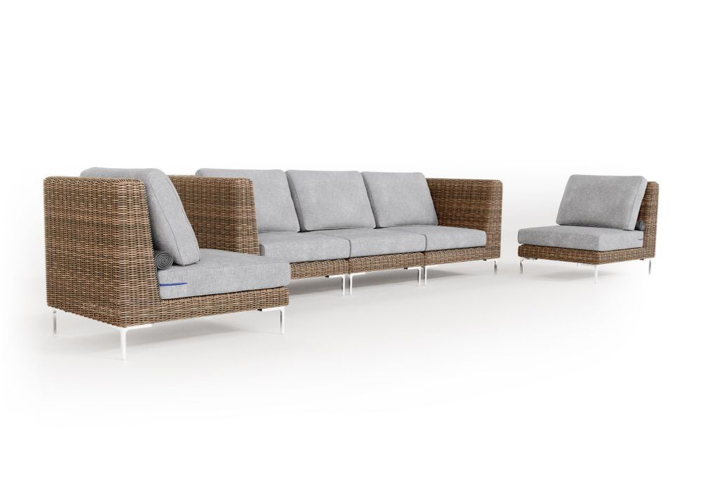 Wicker Outdoor Sofa with Armless Chairs - 5 Seat