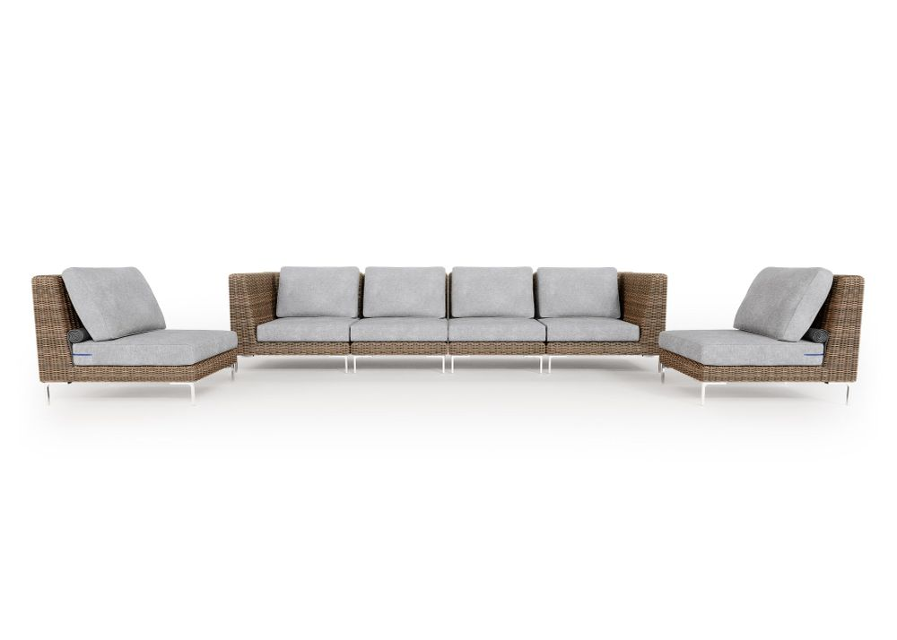 Wicker Outdoor Sofa with Armless Chairs - 6 Seat