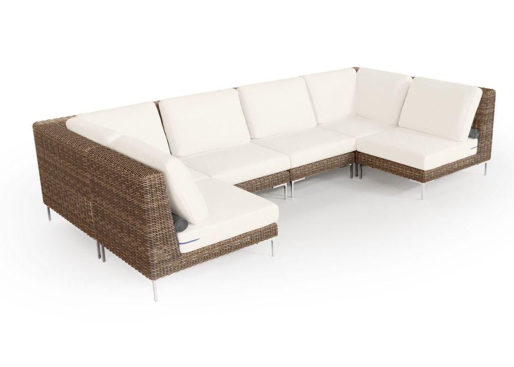 Wicker Outdoor U Sectional - 6 Seat