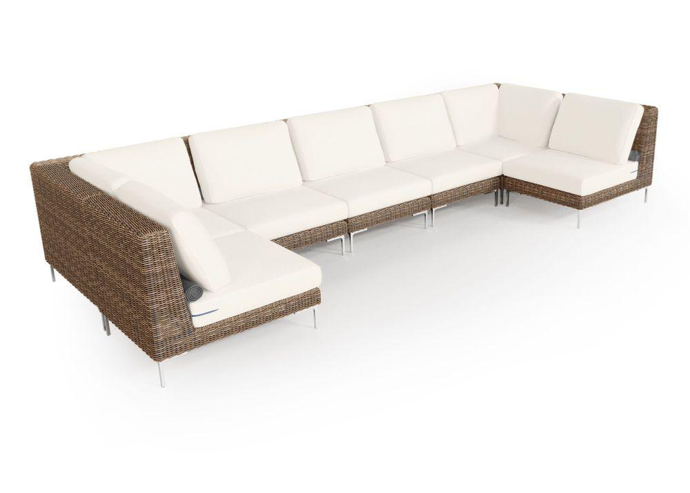 Wicker Outdoor U Sectional - 7 Seat