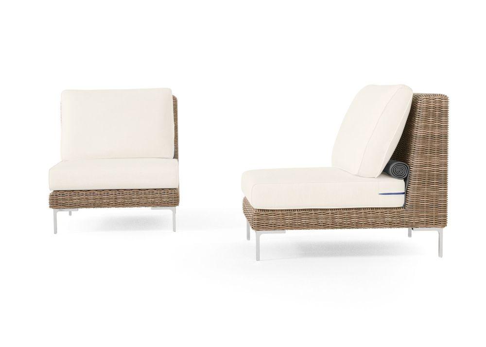 Wicker Outdoor Armless Chair Conversation Set