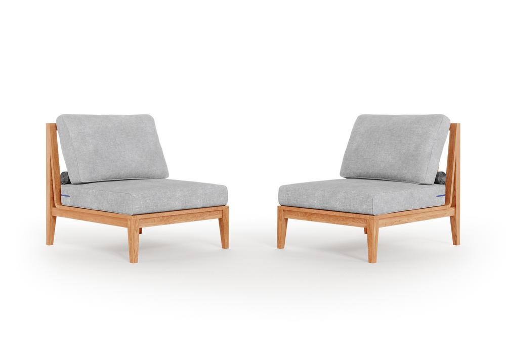 Teak Outdoor Armless Chair Conversation Set