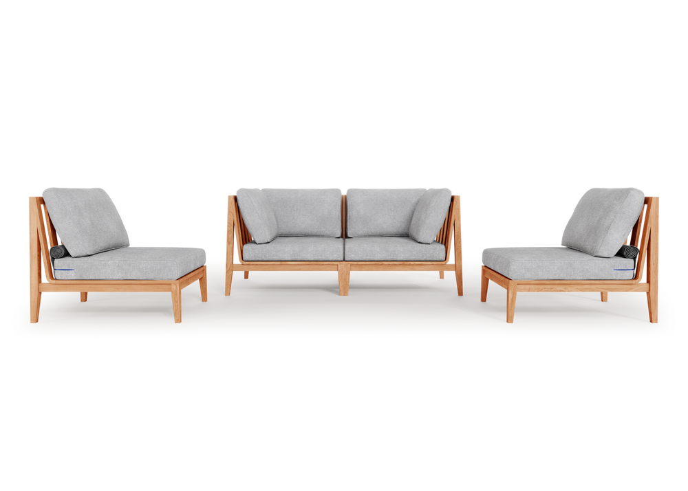 Teak Outdoor Loveseat with Armless Chairs - 4 Seat