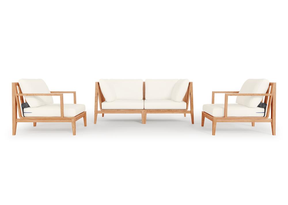 Teak Outdoor Loveseat with Armchairs - 4 Seat