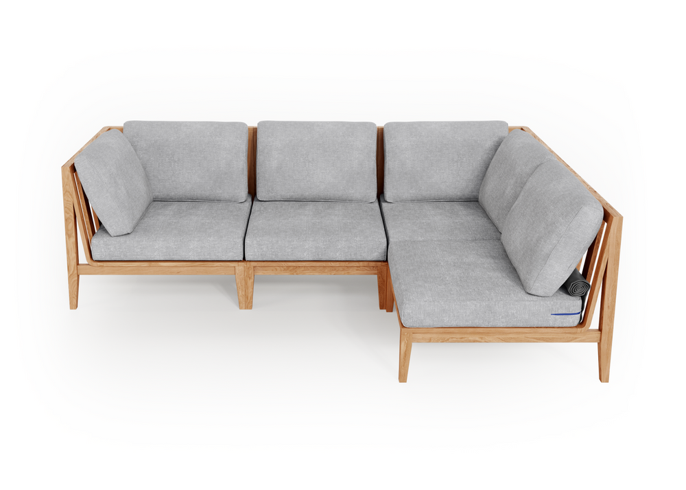 Teak Outdoor L Sectional - 4 Seat
