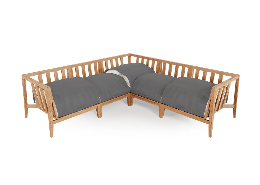 Teak Outdoor Corner Sectional - 5 Seat