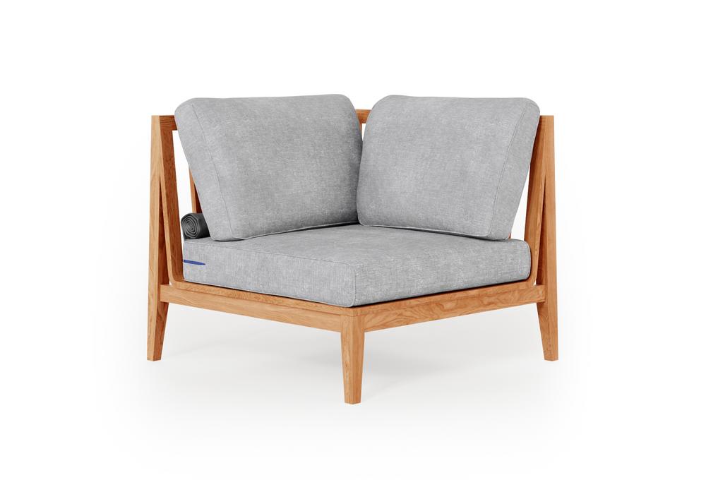 Teak Outdoor Sectional Chair - Left