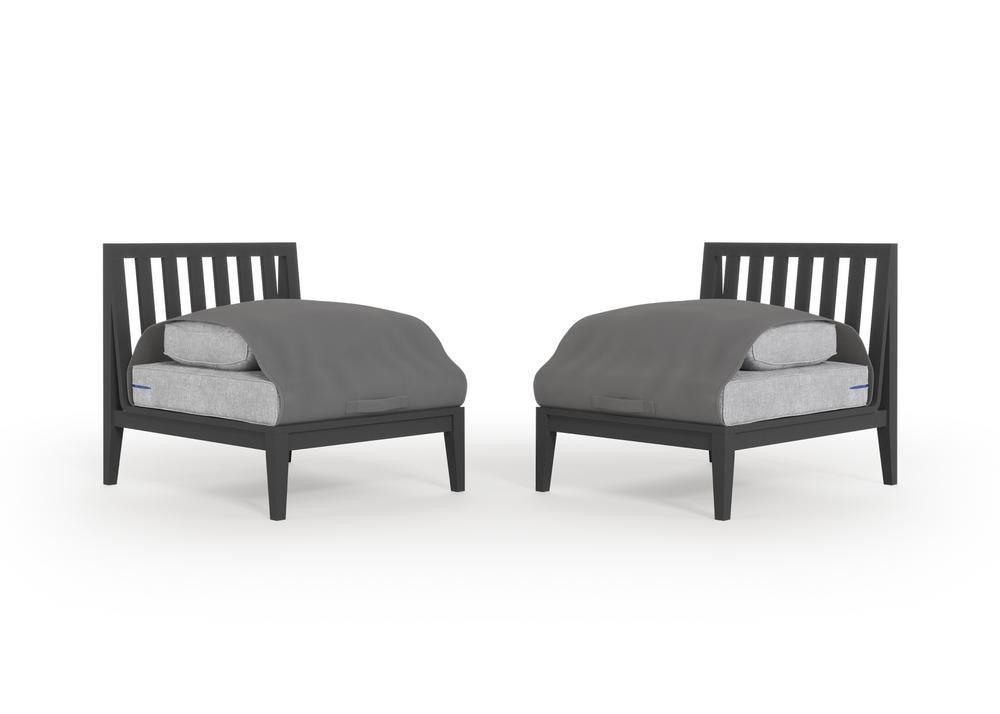 Aluminium Outdoor Armless Chair Conversation Set