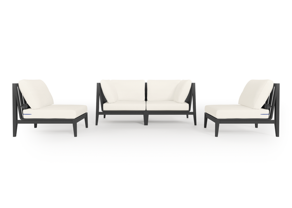 Aluminium Outdoor Loveseat with Armless Chairs - 4 Seat