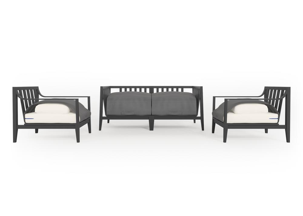 Aluminium Outdoor Loveseat with Armchairs - 4 Seat