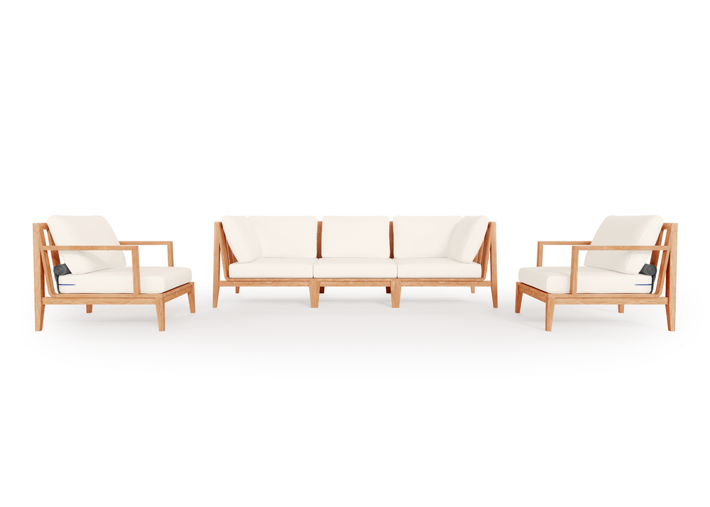 Teak Outdoor Sofa with Armchairs - 5 Seat